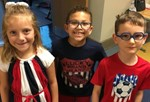 Students showing pride with red white and blue