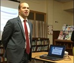 Superintendent Stephen Rodriguez speaking at town hall meeting.