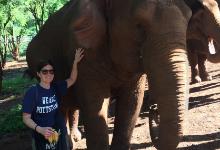 Tamara Gundersen with elephant in Thailand