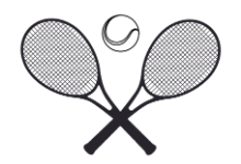 2 crossed tennis rackets with tennis ball