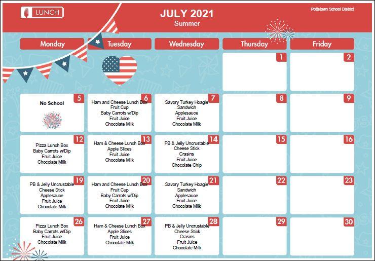 July Lunch Menu
