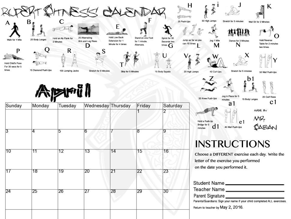 April Fitness Calendar