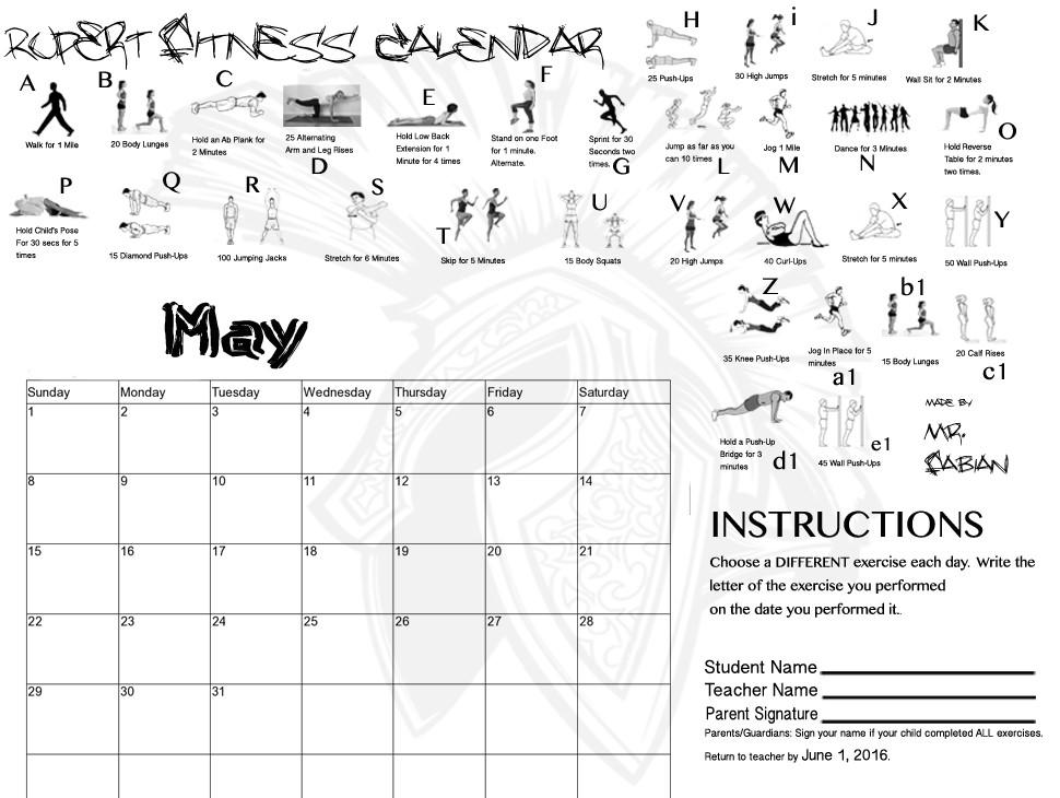 May Fitness Calendar