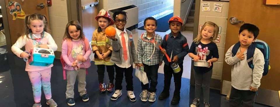 Cute kids in a line