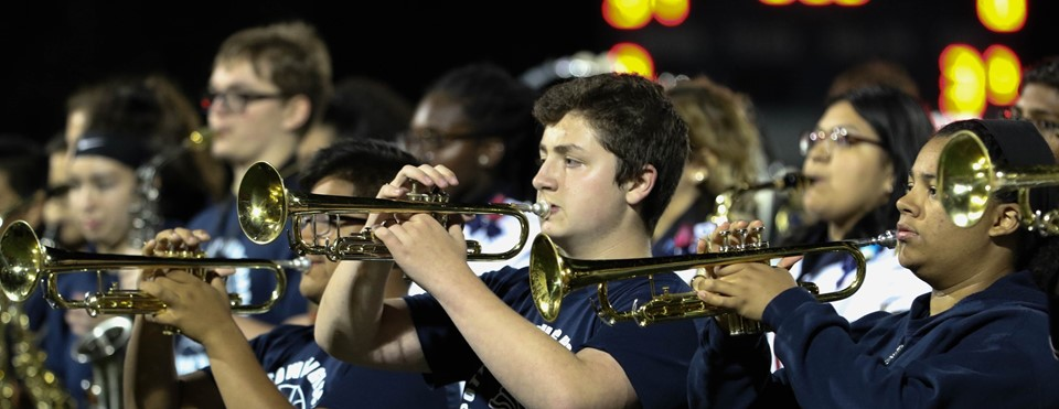Pottstown band horn section during game